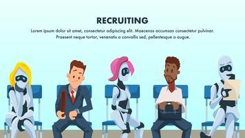 Persone e robot siedono in coda per colloquio di lavoro vettore