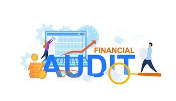 Illustrazione piana di audit finanziario vettore