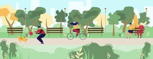 Gente del fumetto che cammina nel parco pubblico urbano piatto vettore