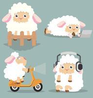 Simpatico set di pecorelle vettore