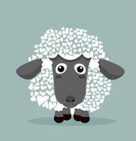 Simpatiche pecore nere a forma di cuore vettore