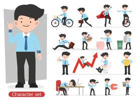 Progettazione di personaggio dei cartoni animati dell'uomo d'affari con differenti pose messe