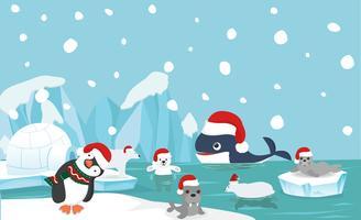 Fondo animale del polo nord con il cappello di Santa