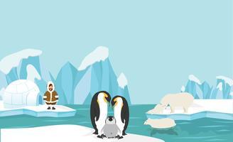 Animali e persone del polo nord artico paesaggio di sfondo vettore