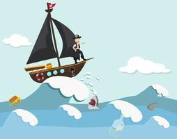 Bambini in una barca pirata vettore