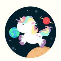 Unicorno mini nel vettore dello spazio