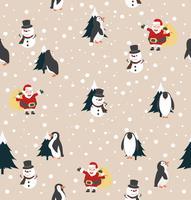 Natale Babbo Natale, pupazzo di neve e pinguino con sfondo albero