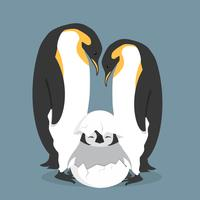 Famiglia felice dei pinguini del fumetto in uovo vettore