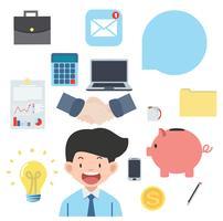 Raccolta piana di vettore delle icone degli oggetti business