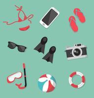 Set di accessori per la collezione estiva vettore