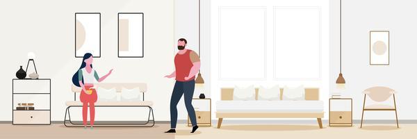 Romanticismo di coppia Interni moderni del soggiorno.