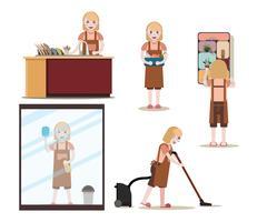 Set di lavoro di pulizia e pulizie