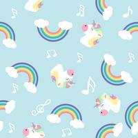 Unicorno arcobaleno pastello con nota seamless