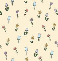 Doodle seamless pattern di fiori