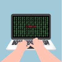 il taccuino del computer portatile erroe con il concetto di lavoro di battitura a mano