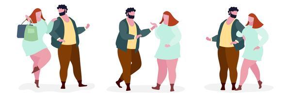 Illustrazione di carattere grasso di coppia
