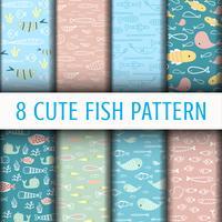 8 Simpatici pesci pattern di sfondo