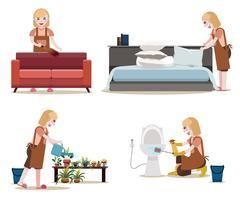 Set di lavoro da cameriera. Donne con attrezzature per la pulizia Vettore isolato. Lavoro governante.