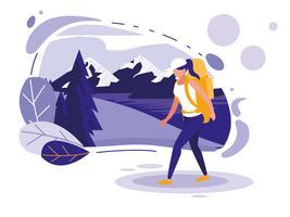 paesaggio creativo con montagne e donna vettore