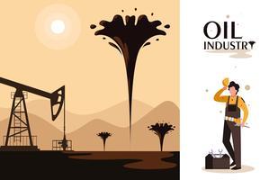 scena dell'industria petrolifera con torre e lavoratore