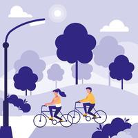 coppia nel parco in sella a bici avatar personaggio vettore
