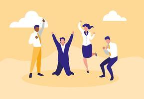 uomini d'affari di successo che celebrano personaggi