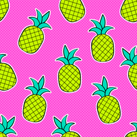 Ananas Pop Art Vector Seamless Background
