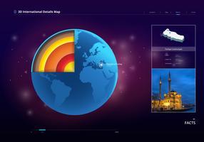 Mappa del globo internazionale 3D vettore