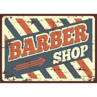 Segno del negozio di barbiere bianco e blu vettore