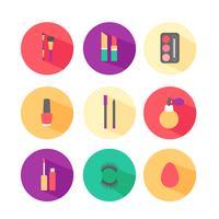 Set di icone colorate di cosmetici e trucco vettore