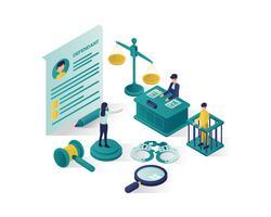illustrazione isometrica di giustizia e legge