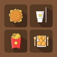Set di icone di elementi di fast food vettore