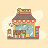 Piccolo negozio di alimentari con prodotti esposti all'esterno vettore