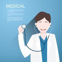 Medico con uno stetoscopio nelle mani su sfondo
