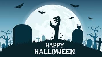 Cimitero di zombie di Halloween vettore
