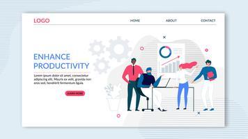 Pagina di destinazione piatta che offre maggiore produttività vettore