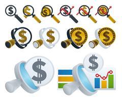 Icone lente d'ingrandimento e dollaro