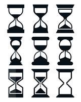 Set di icone a forma di clessidra vettore