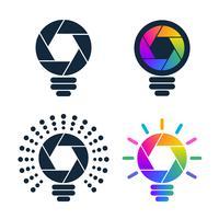 Icone della lampadina a forma di otturatore vettore