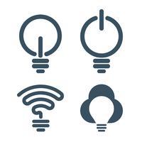 Icone della lampadina con temi di tecnologia dell'informazione