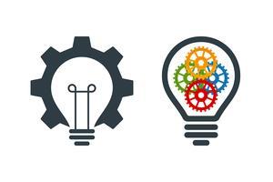Icone della lampadina con ingranaggi vettore