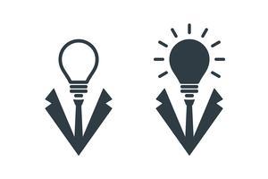 Icone della testa dell'uomo d'affari a forma di lampadina vettore