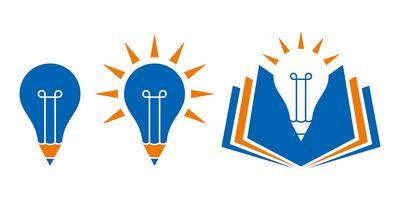Icone di istruzione a forma di lampadina con la matita e il libro vettore