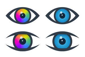 Icone dell'occhio con bulbo oculare colorato vettore