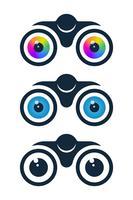 Icone binocolo con bulbi oculari