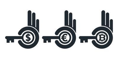 Mani astratte che tengono le chiavi con le valute vettore