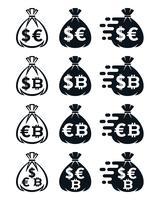 Icone del sacchetto dei soldi con vari simboli di valuta vettore