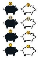 Icone salvadanaio con monete vettore