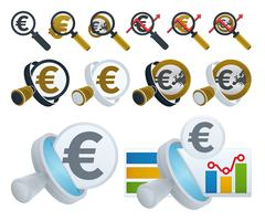 Lente d'ingrandimento ed icone in euro