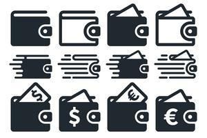Icone del portafoglio piatto vettore